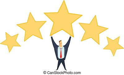 Businessman in office suit holding big star above his head. Achieving goals. Rating of success. Benchmarking. Race for success. Concept flat vector illustration, isolated on white background.