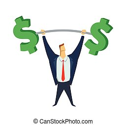 Businessman in office suit lifting up the barbell with big dollar-signs as weight. Achieving goals. Making money. Business heavyweight. Concept flat vector illustration, isolated on white background.