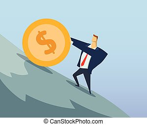 Businessman in office suit pushing big dollar coin up the steep hill. Sisyphean labour. Sisyphean business. Achieving goals. Race for success. Concept flat vector illustration. Horizontal.