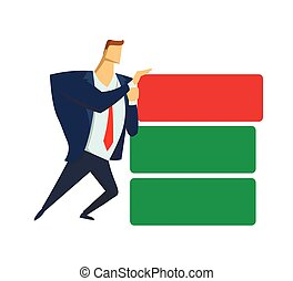 Businessman in office suit pushing wrong block out of the stockpile. Benchmarking. Anticrisis management. Urgent measures. Concept flat vector illustration, isolated on white background.