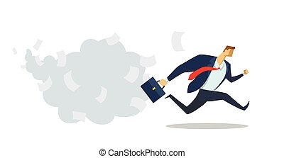 Businessman in office suit running fast to his goal. Race for success. Office work. Deadline. Hurry up. Concept flat vector illustration, isolated on white background.