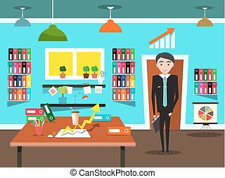 Businessman in Office. Vector.
