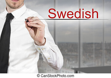 businessman in office writing swedish in the air -...