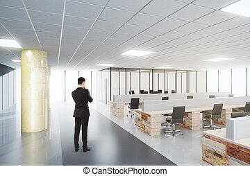 Businessman in open space modern office