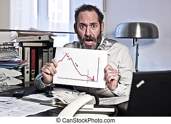 Businessman in Panic - Businessman sees the bankrupcy and...
