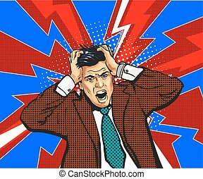 Businessman in panic, hold on to head. Emotions. Talks. On an red-crimson background. Pop art comic. Retro.