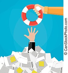 businessman in pile of documents getting lifebuoy