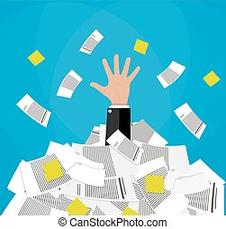 businessman in pile of documents