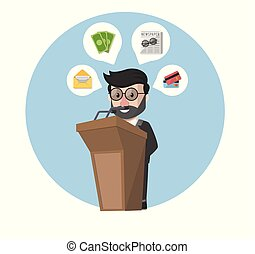 businessman in podium and provide information