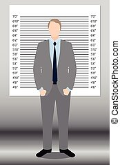 Businessman in police lineup backdrop, illustration, vector.