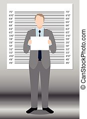 Businessman in police lineup backdrop, illustration, vector