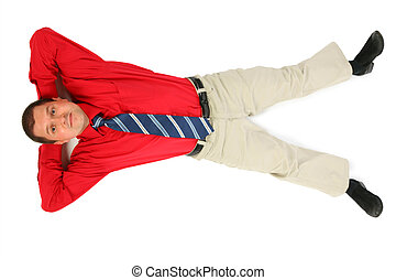 Businessman in  red shirt lay on his back