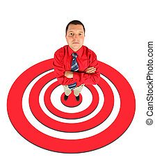 businessman in red shirt standing on red shooting mark collage