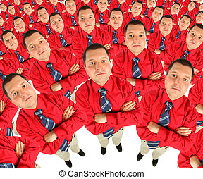 Businessman in red shirt with his hands crossed semicircle...