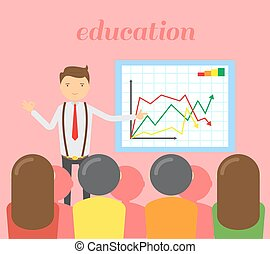 Businessman in red tie doing a presentation explaining the diagram on the whiteboard. Business seminar. Education vector illustration