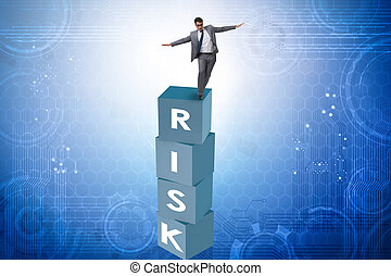 Businessman in risk and reward business concept