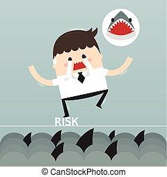businessman in risk, vector, flat design