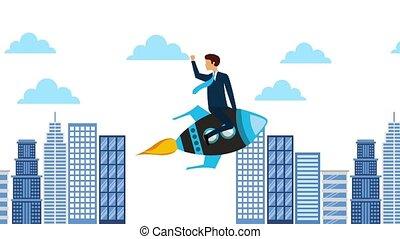 businessman in rocket flying city sky animation hd