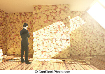 Businessman in room with stickers