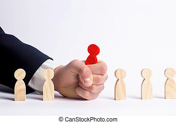 Businessman in search of new employees and specialists. The concept of personnel selection and management within the team. Dismissal and hiring people to work. Human Resource Management. Headhunter.