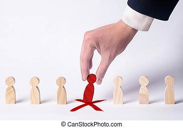 Businessman in search of new employees and specialists. The concept of personnel selection and management within the team. Dismissal and hiring people to work. Human Resource Management. Headhunter