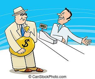 Businessman in Shop - Illustration of Businessman with sack...