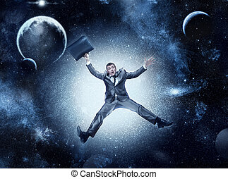 Businessman in space