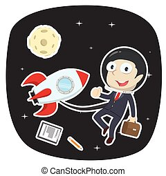 Businessman in space illustration vector