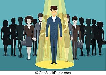 Businessman in spotlight. Human resource recruitment vector concept background