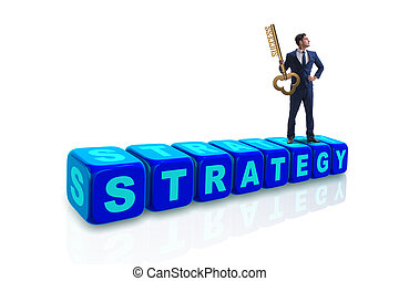 Businessman in strategy business concept with key