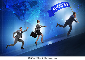 Businessman in success business concept