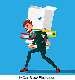 Businessman In Suit Bent Over Carrying A Stack Of Documents On His Back Vector. Isolated Illustration