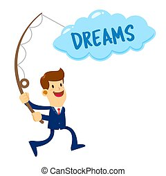 Businessman in Suit Catching Dreams in Cloud