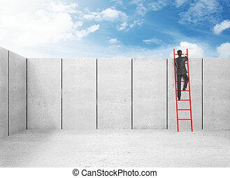 businessman in suit climbing