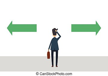 Businessman in suit has to make a choice vector illustration...