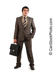Businessman in suit holding briefcase.