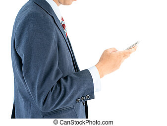 Businessman in suit holding smartphone
