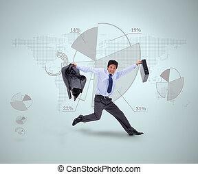 Businessman in suit jumping against - Businessman in suit...