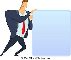 Businessman in suit moving big translucent cube. Icon,...