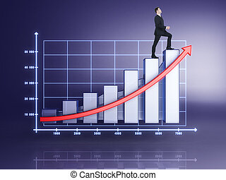 businessman in suit rising up