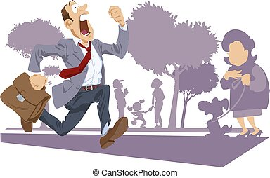 Businessman in suit running fast. Funny people.