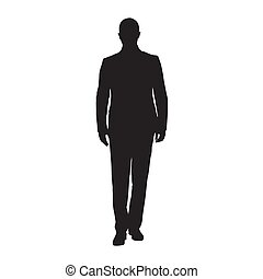 Businessman in suit standing, isolated vector silhouette. Front view. Business people