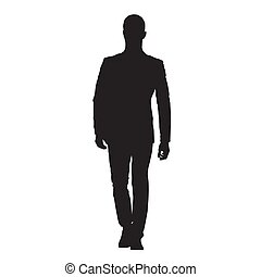Businessman in suit walking forward, isolated vector silhouette