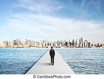 businessman in suit walking
