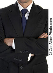 businessman in suit with crossed hand