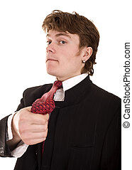 Businessman in suit with tie.