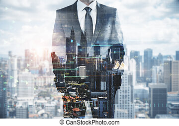 Businessman in tech city