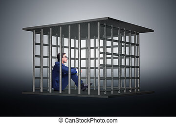 Businessman in the cage business concept