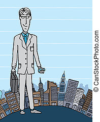 Businessman in the city with copyspace