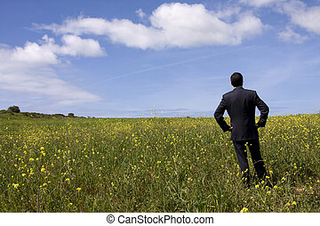Businessman in the field